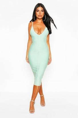 boohoo Petite Bandage V-Neck Bodycon Dress
