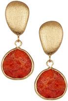Rivka Friedman Faceted Teardrop Coral Satin Finish Earrings