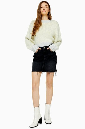 Topshop Black Wash Denim Mini Skirt
