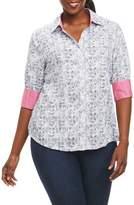Foxcroft Mary Circle Tile Print Shirt