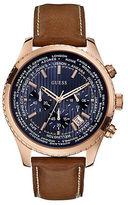 GUESS Ladies Blue Print Rose Goldtone Sport Chronograph Watch