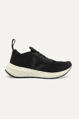 Rick Owens Veja Vegan-leather Trimmed V-knit Sneakers - Black