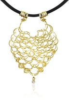 Orlando Orlandini Scintille - Diamond Drop 18K Yellow Gold Net Necklace
