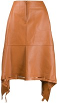 Loewe asymmetric leather skirt