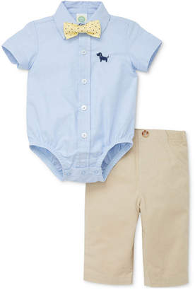 Little Me Baby Boys 3-Pc. Cotton Puppy Bodysuit, Pants & Bow Tie Set