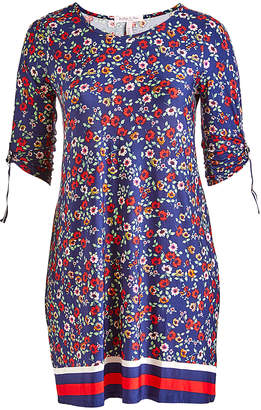 Derek Heart Women's Casual Dresses BLUE - Blue Floral Stripe-Accent A-Line Dress - Juniors