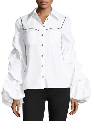 Caroline Constas Ambrose Button-Front Poplin Shirt w/ Ruched Sleeves