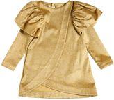 Nikolia Glittered Velvet Dress W/ Ruffles