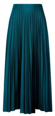 Dorothy Perkins Womens Teal Blue Jersey Pleat Midi Skirt, Blue