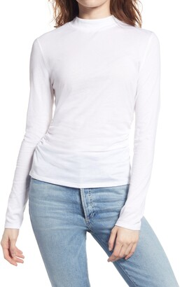 Chelsea28 Ruched Mock Neck Long Sleeve Top