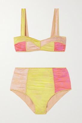 Oseree Blossom Colore Floral-jacquard Bikini - Yellow