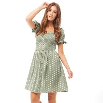 Brave Soul Womens Lemi Button Through Dress Sage/White