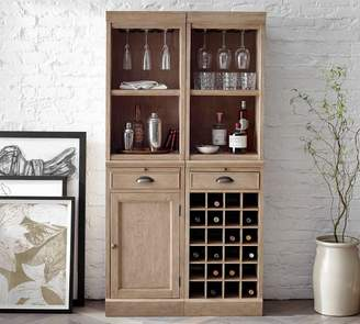 Pottery Barn Modular Bar System with 2 Standard Hutches, 1 Cabinet Base, and 1 Wine Grid Base
