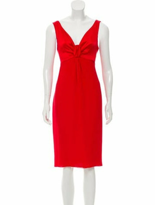 Valentino Silk Midi Dress Red