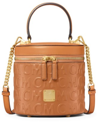 MCM Small Cylinder Monogram Leather Crossbody Bag