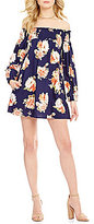 Band of Gypsies Smocked Off-the-Shoulder Long Sleeve Floral Print Dress