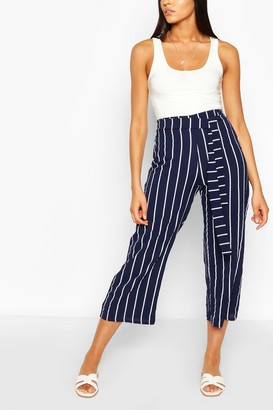boohoo Tall Belted Nautical Stripe Woven Culottes