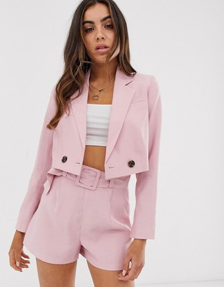 Asos Design DESIGN cropped pink suit blazer