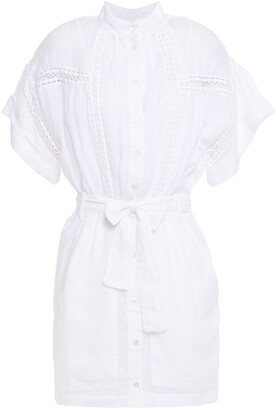 Frame Belted Crochet-trimmed Gauze Mini Shirt Dress