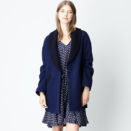 Band Of Outsiders blanket coat with angora shawl collar
