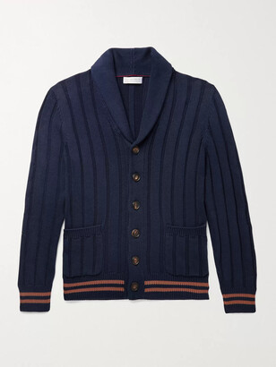 Brunello Cucinelli Shawl-Collar Ribbed Striped Cotton Cardigan