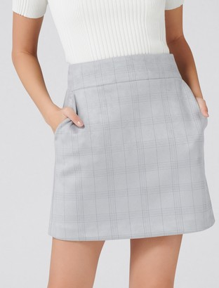 Forever New Angeline Suedette A-Line Mini Skirt - Grey Check - 14