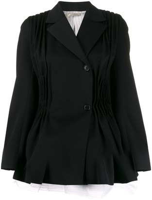Nina Ricci Pleated Detail Flared Blazer Jacket