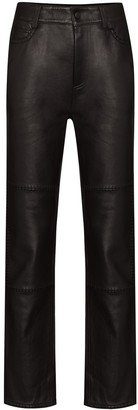 Ganni Stitch-Detail Leather Trousers