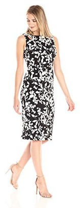 Maggy London Women's Midi Sheath with Cut Outs