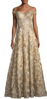 Jovani Off-the-Shoulder Sweetheart Lace Brocade Evening Gown
