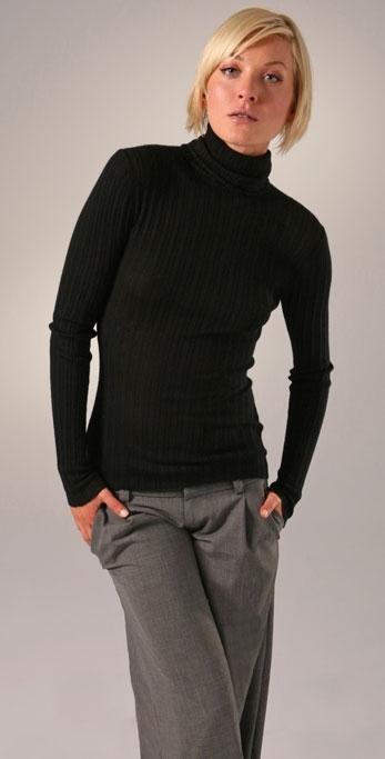Bop Basics Cashmere Ribbed Turtleneck Sweater