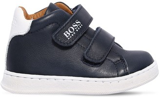 HUGO BOSS High Top Leather Straps Sneakers