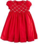 Luli & Me Cap-Sleeve Smocked Twill Dress, Red, Size 2-4