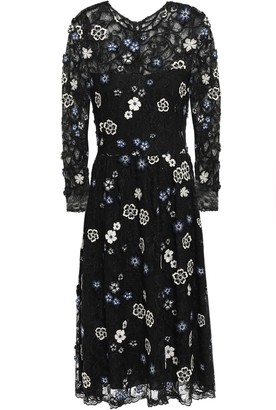 Lela Rose Floral-appliqued Embroidered Chantilly Lace Dress