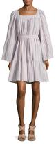 Lisa Marie Fernandez Short Peasant Seersucker Tiered Dress
