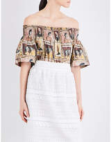 Burberry Faces-print off-the-shoulder cotton top