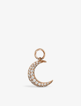 Roxanne First Crescent Moon 14ct rose-gold and diamond dangly