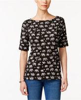 Karen Scott Elephant-Print Elbow-Sleeve Top, Created for Macy's