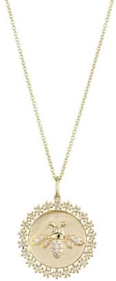 Sydney Evan 14K Gold & Diamond Bee Coin Pendant Necklace