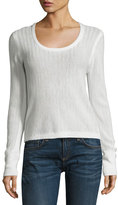 Rag & Bone Estelle Herringbone Cashmere Scoop-Neck Sweater, Ivory