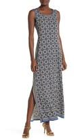 Max Studio Scoop Neck Print Maxi Dress