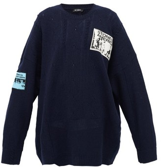 Raf Simons Patch-applique Distressed Merino-wool Sweater - Womens - Navy