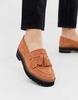 Asos Design DESIGN Meze chunky fringed suede loafers in tan