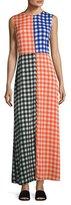 Diane von Furstenberg High-Neck Sleeveless Check Maxi Dress, Multi