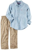 Carter's Baby Boy Chambray Shirt & Dino Canvas Pants Set
