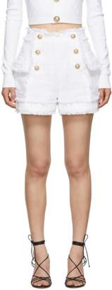 Balmain White Tweed Double-Breasted Shorts