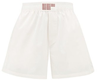 Matthew Adams Dolan - Logo-embroidered Cotton-poplin Shorts - Womens - Light Pink
