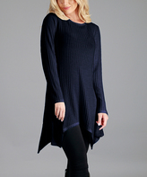 Aster Navy Ribbed Handkerchief Tunic - Plus Too