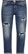 River Island Mens Dark Blue ripped Jimmy slim tapered jeans