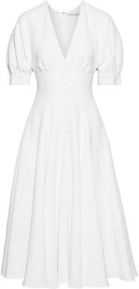Emilia Wickstead Bria Flared Button-embellished Wool-crepe Midi Dress